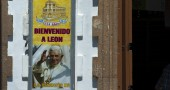 A banner with the image of Pope Benedict