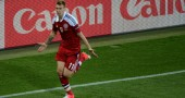 Danish forward Nicklas Bendtner celebrat
