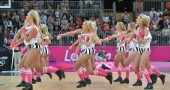Cheerleaders perform during the Women's