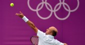 Russia's Nikolay Davydenko serves to Jap