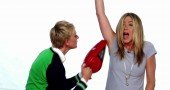 JENNIFER ANISTON NELLO SPOT DEL PROGRAMMA TV THE ELLEN DEGENERES SHOW
