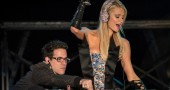 US socialite Paris Hilton (R) performs a