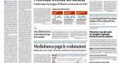 Il Sole 24 Ore riassume le nuove stime del governo sulla crescita dell'economia italiana (-2,4%), rapporto debito Pil (126,4%) e indebitamento netto (-0,9%) diffuse ieri. Intanto lo spread Btp/Bund è leggermente risalito. Il divario tra tassi di interesse sui titoli di stato italiani decennali ed omologhi tedeschi è di 347 punti base.