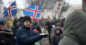People protest outside the Icelandic Par