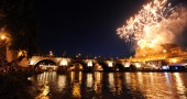 Fireworks light the sky at Castel Sant'A