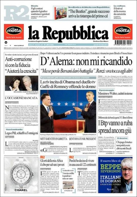 Politica e informazione per chi tifano i giornali for Repubblica politica