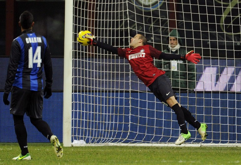 Everyone loves an outfield goalie: Rodrigo Palacio dons the gloves for Inter Milan v Verona