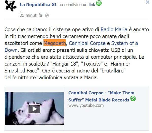 bufala repubblica radio maria megadeth