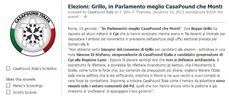Beppe Grillo: Casapound è meglio di Monti – Giornalettismo