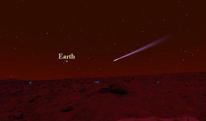 Come si vede una cometa su Marte