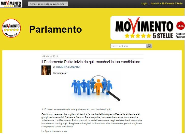 Movimento 5 stelle cerca collaboratori e assistenti for Onorevoli 5 stelle