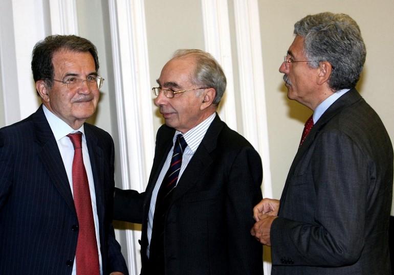 Romano Prodi, Giuliano Amato e Massimo D'Alema