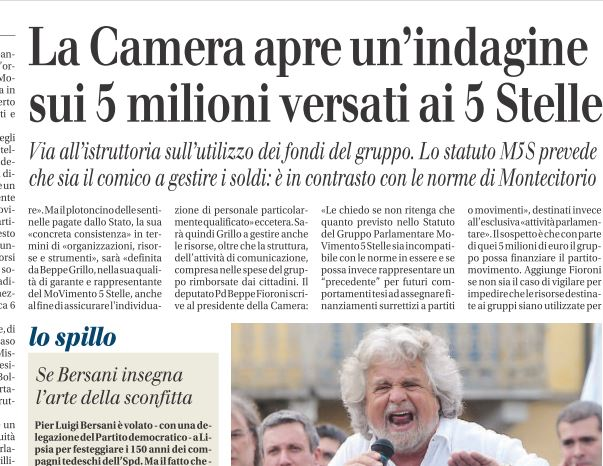 movimento 5 stelle indagine camera milioni euro