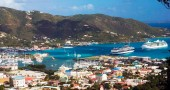 British Virgin Islands, Tortola, view of Road Town and cruise ships from mountain road