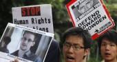 I manifestanti davanti al Consolato Generale degli Stati Uniti a Hong Kong