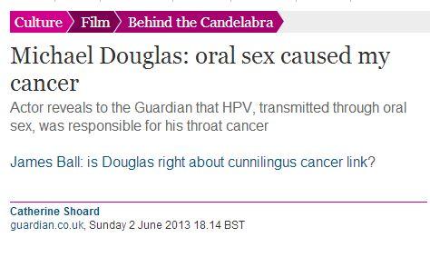 michael douglas sesso orale causa cancro