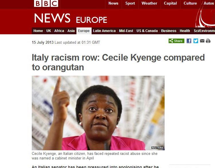 BBC titola: Polemica razzista in Italia, Cécile Kyenge paragonata ad un orango tango