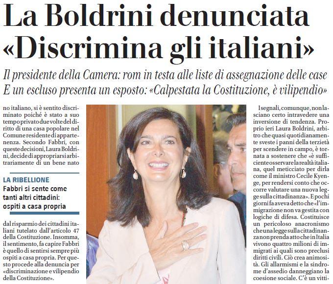 laura boldrini denunciata discrimina italiani