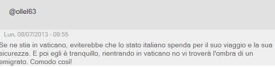 papa lampedusa lettori giornale 2