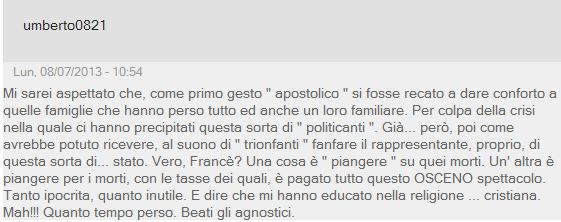 papa lampedusa lettori giornale 4
