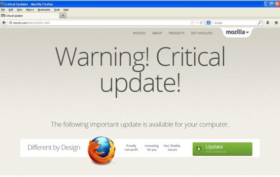Il virus che si traveste da aggiornamento del browser