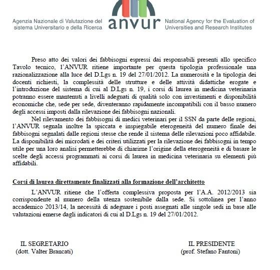 La lettera Anvur