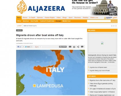 Il naufragio a largo di Lampedusa su Al Jazeera