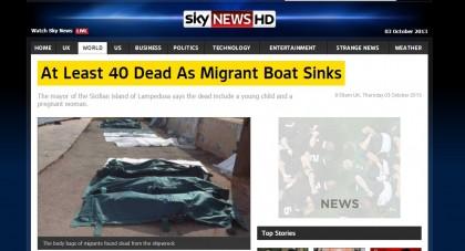 Il naufragio a Lampedusa su Sky News