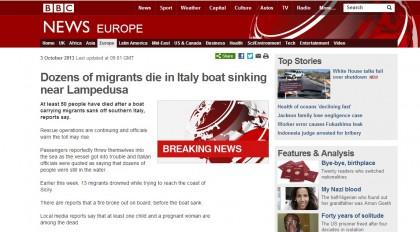 Il naufragio a Lampedusa sulla Bbc