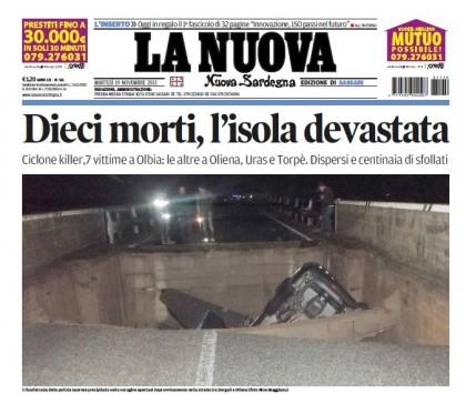 """La prima pagina de """"La Nuova Sardegna"""""""