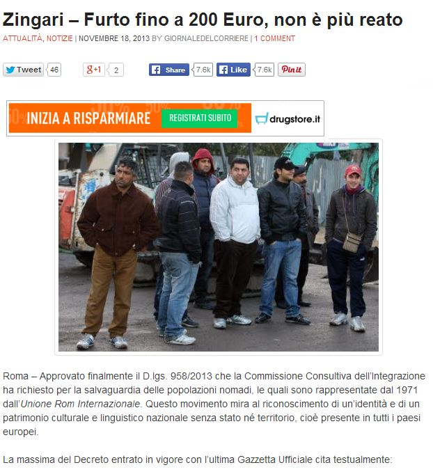 zingari furto 200 euro
