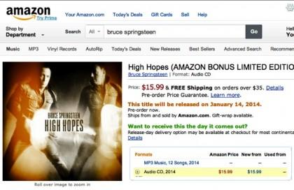 High Hopes di Bruce Springsteen, in vendita per errore su Amazon (Foto: billboard.com)