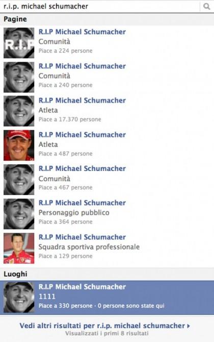 Michael schumacher facebook rip morto 1