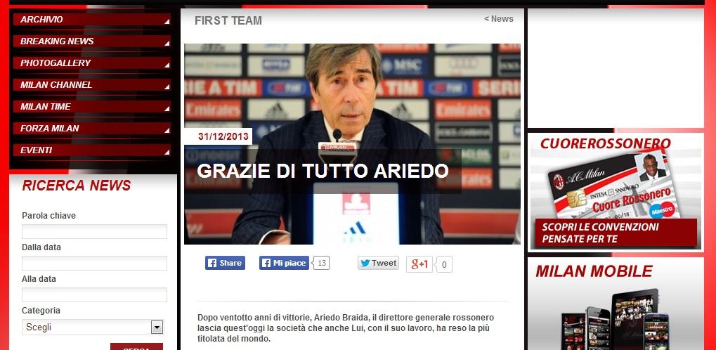 il comunicato sul sito del Milan (fonte Acmilan.it)