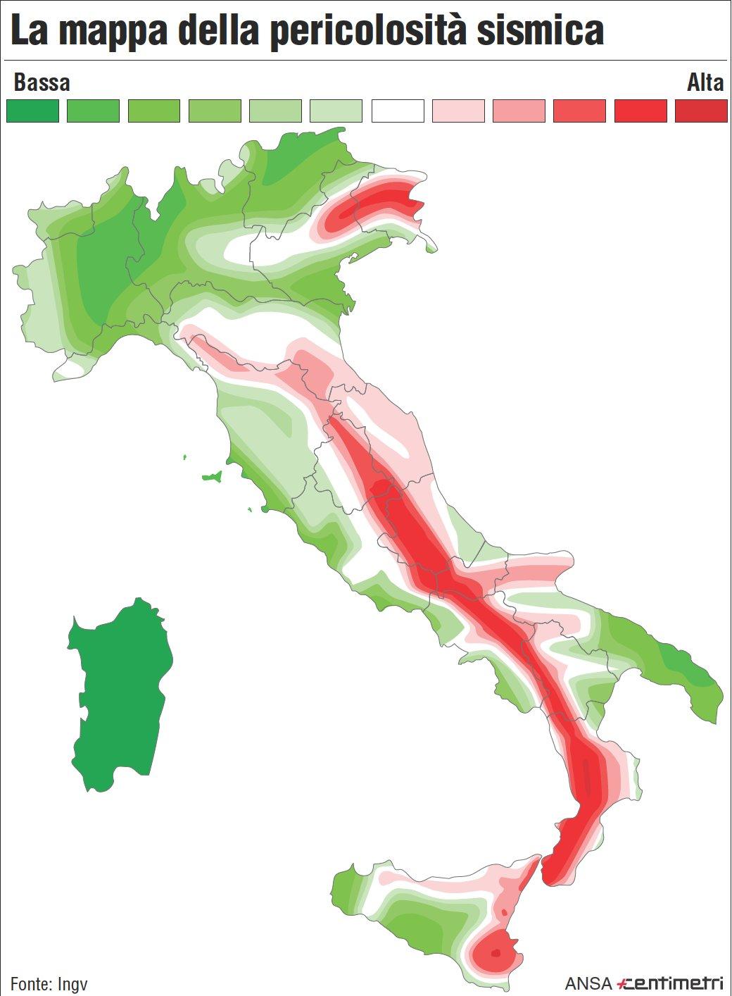 La mappa del rischio sismico in italia giornalettismo for Rischio sismico in italia