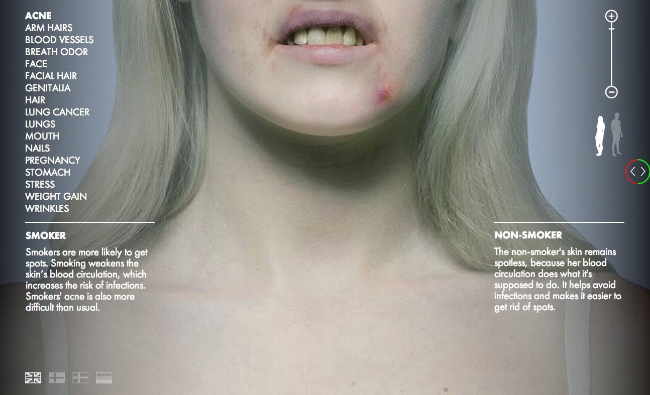Il sito che ti mostra come diventa il corpo di un fumatore