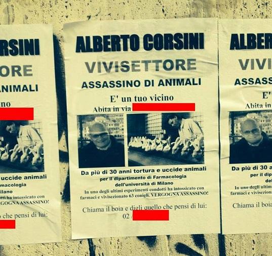 I manifesti contro i ricercatori a Milano