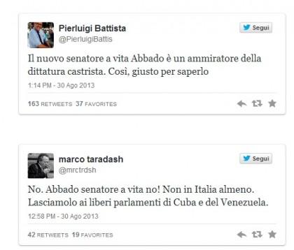 Claudio Abbado critiche senatore a vita