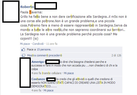 MoVimento 5 Stelle Sardegna due liste