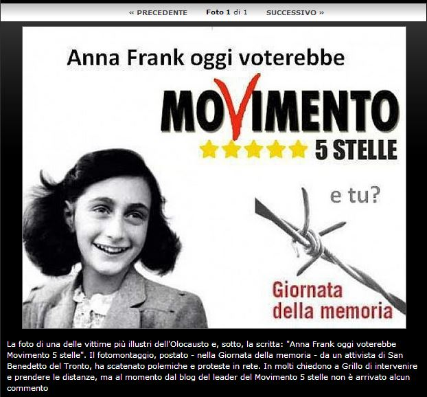 anna frank movimento 5 stelle