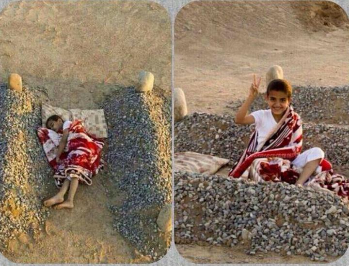 bufala bambino siriano dorme tra tombe genitori 2