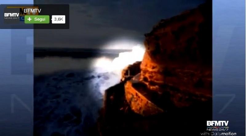 Il momento dell'impatto dell'onda