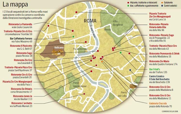 mappa pizzerie romane camorra