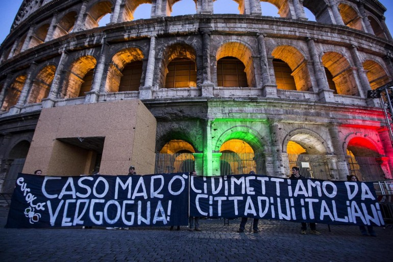 Colosseo - Manifestazione a sostegno dei due marò Latorre e Girone