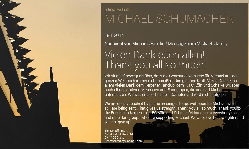 Il ringraziamento della famiglia Schumacher sul sito del campione tedesco