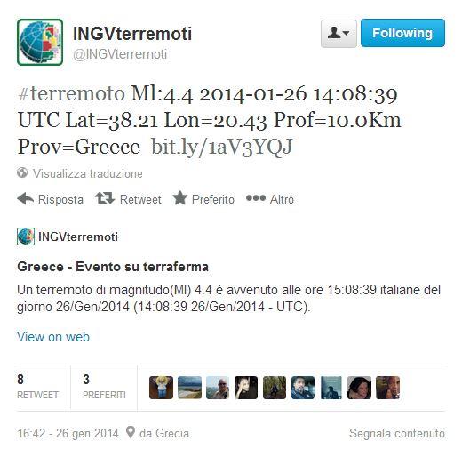 terremoto puglia grecia magnitudo