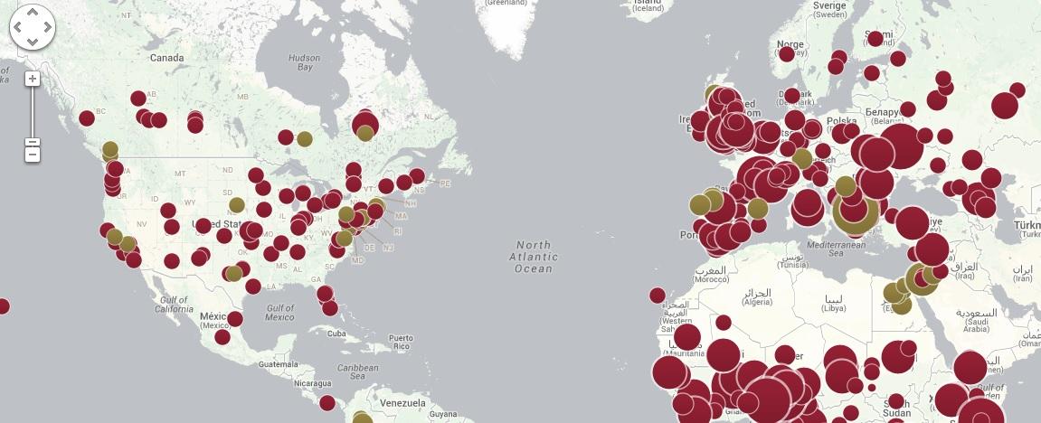 La cartina che mostra la diffusione negli ultimi cinque anni delle epidemie di morbillo (in rosso) e della parotite (in verde)