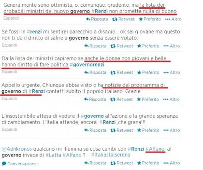 Governo Renzi italiani reazioni social 2