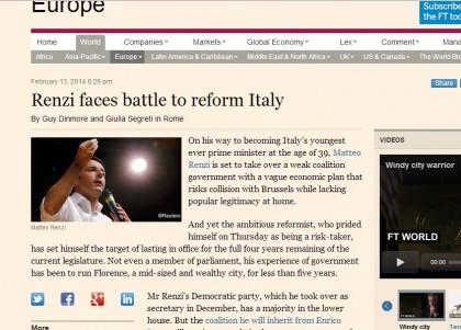 Matteo Renzi Enrico Letta giornali esteri 2 FT 2