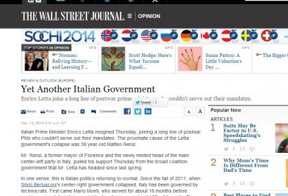 Matteo Renzi Enrico Letta giornali esteri 3 FT